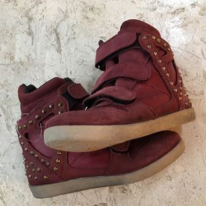 Studded Sneakers Cannes Burgundy Suede/Leather